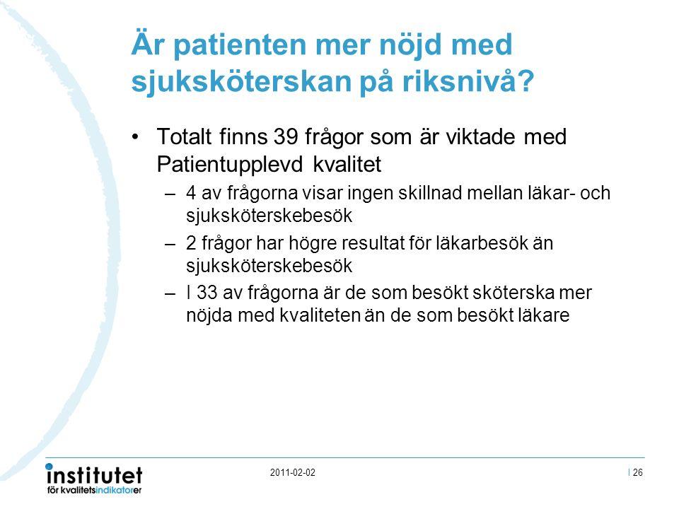 2011-02-02 Är patienten mer nöjd med sjuksköterskan på riksnivå.
