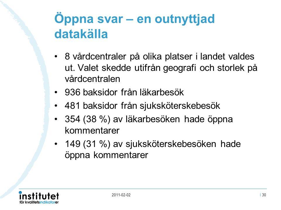 2011-02-02 Öppna svar – en outnyttjad datakälla 8 vårdcentraler på olika platser i landet valdes ut.
