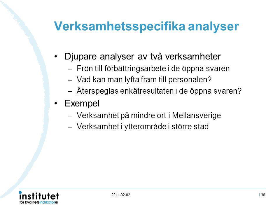 2011-02-02 Verksamhetsspecifika analyser Djupare analyser av två verksamheter –Frön till förbättringsarbete i de öppna svaren –Vad kan man lyfta fram till personalen.