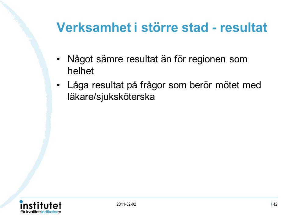 2011-02-02 Verksamhet i större stad - resultat Något sämre resultat än för regionen som helhet Låga resultat på frågor som berör mötet med läkare/sjuksköterska I 42