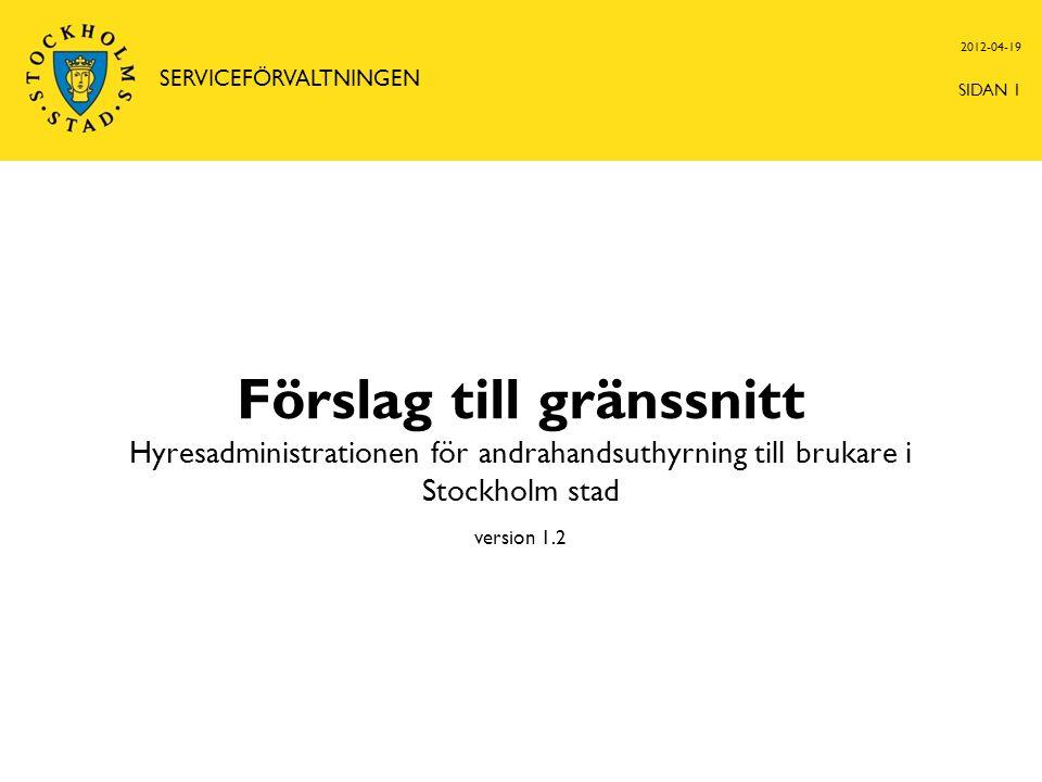 Förslag till gränssnitt Hyresadministrationen för andrahandsuthyrning till brukare i Stockholm stad version 1.2 2012-04-19 SERVICEFÖRVALTNINGEN SIDAN 1