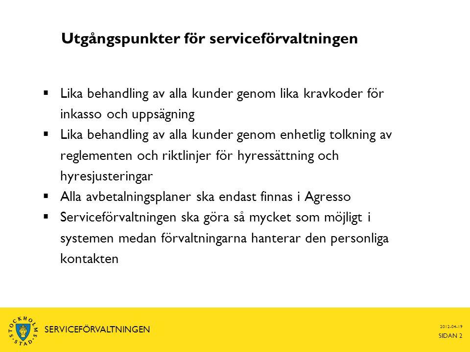 Utgångspunkter för serviceförvaltningen  Lika behandling av alla kunder genom lika kravkoder för inkasso och uppsägning  Lika behandling av alla kun