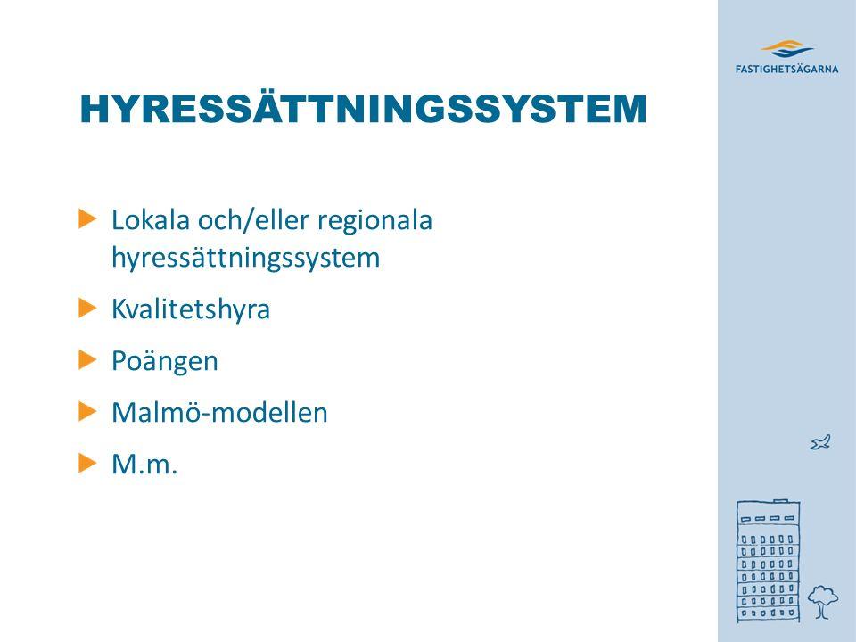 HYRESSÄTTNINGSSYSTEM Lokala och/eller regionala hyressättningssystem Kvalitetshyra Poängen Malmö-modellen M.m.