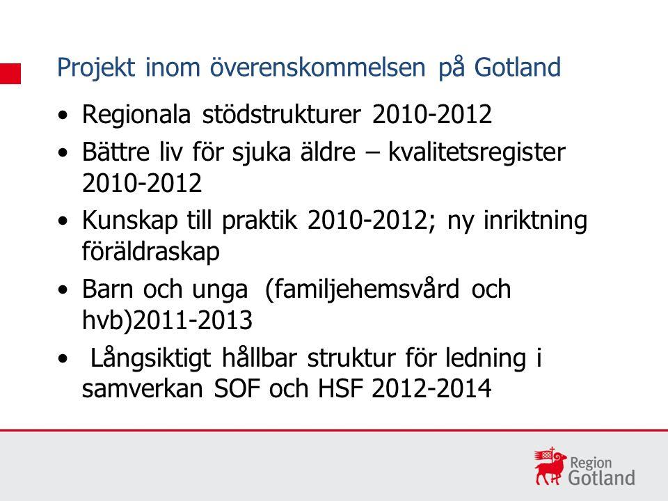 Regionala stödstrukturer 2010-2012 Bättre liv för sjuka äldre – kvalitetsregister 2010-2012 Kunskap till praktik 2010-2012; ny inriktning föräldraskap