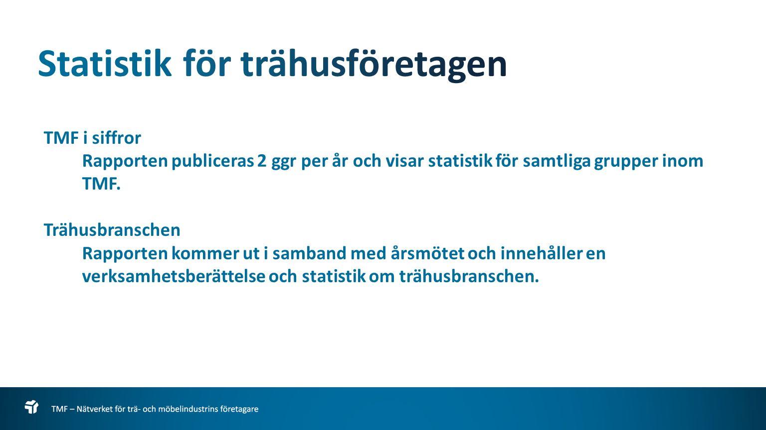 TMF i siffror Rapporten publiceras 2 ggr per år och visar statistik för samtliga grupper inom TMF.