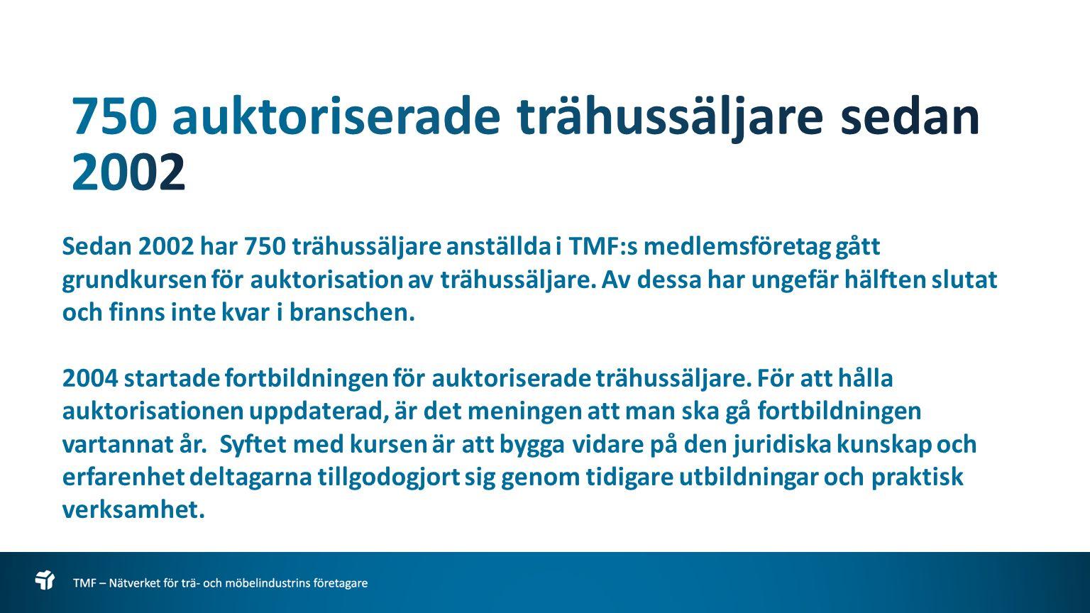 Sedan 2002 har 750 trähussäljare anställda i TMF:s medlemsföretag gått grundkursen för auktorisation av trähussäljare.