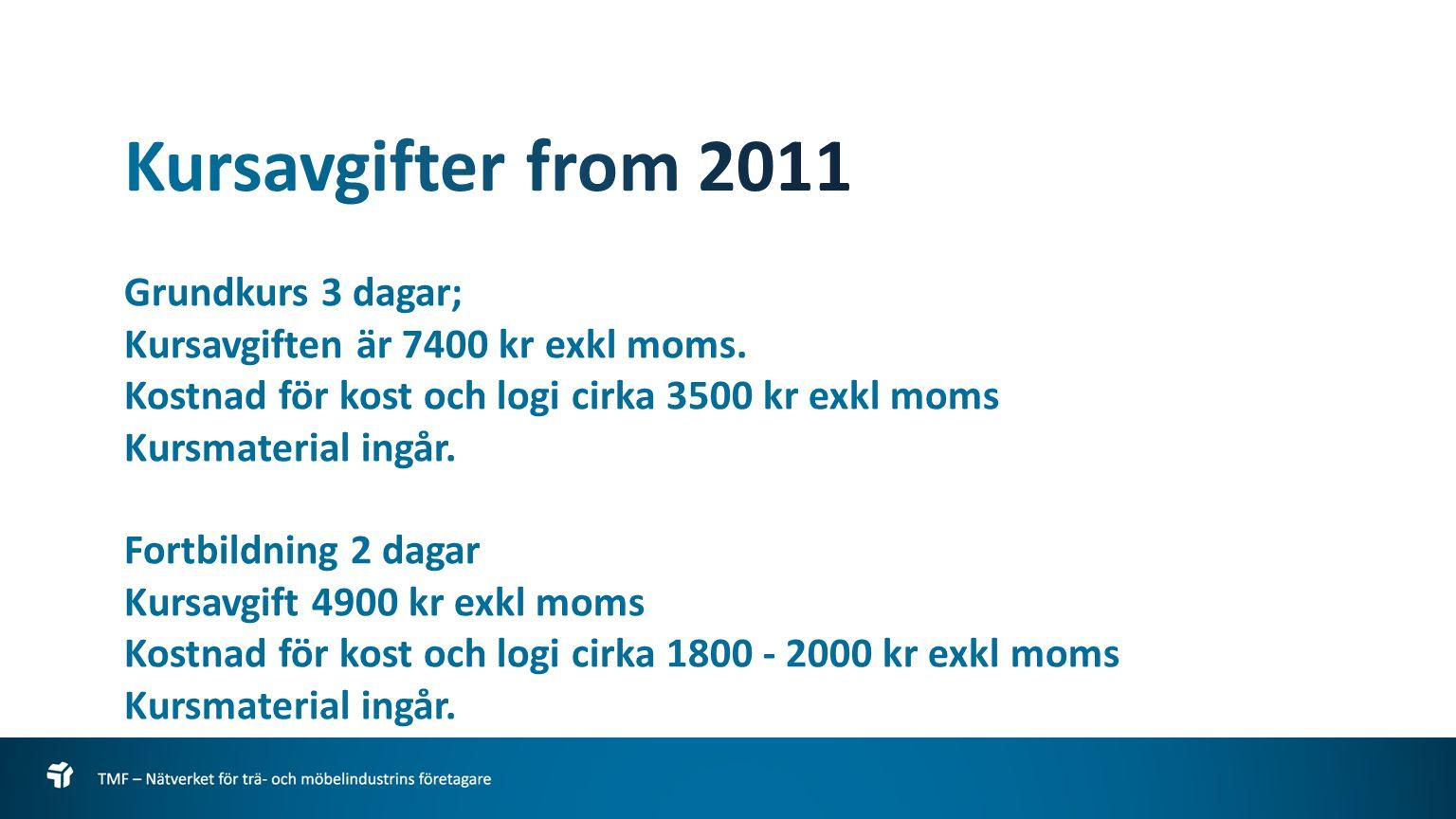 Grundkurs 3 dagar; Kursavgiften är 7400 kr exkl moms.
