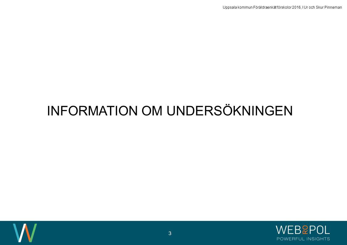 Uppsala kommun Föräldraenkät förskolor 2016, I Ur och Skur Pinneman 3 INFORMATION OM UNDERSÖKNINGEN