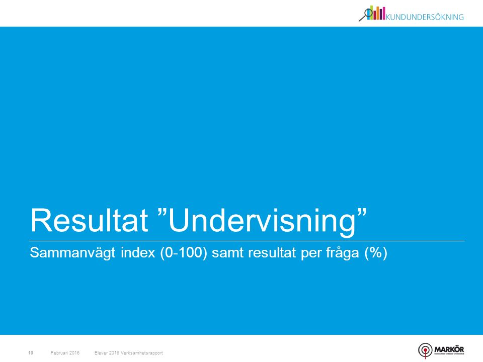 """Resultat """"Undervisning"""" Sammanvägt index (0-100) samt resultat per fråga (%) Februari 201610Elever 2016 Verksamhetsrapport"""