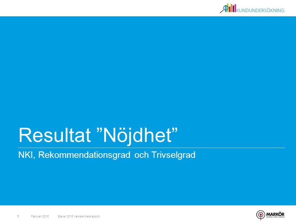 Resultat Nöjdhet NKI, Rekommendationsgrad och Trivselgrad Februari 20165Elever 2016 Verksamhetsrapport