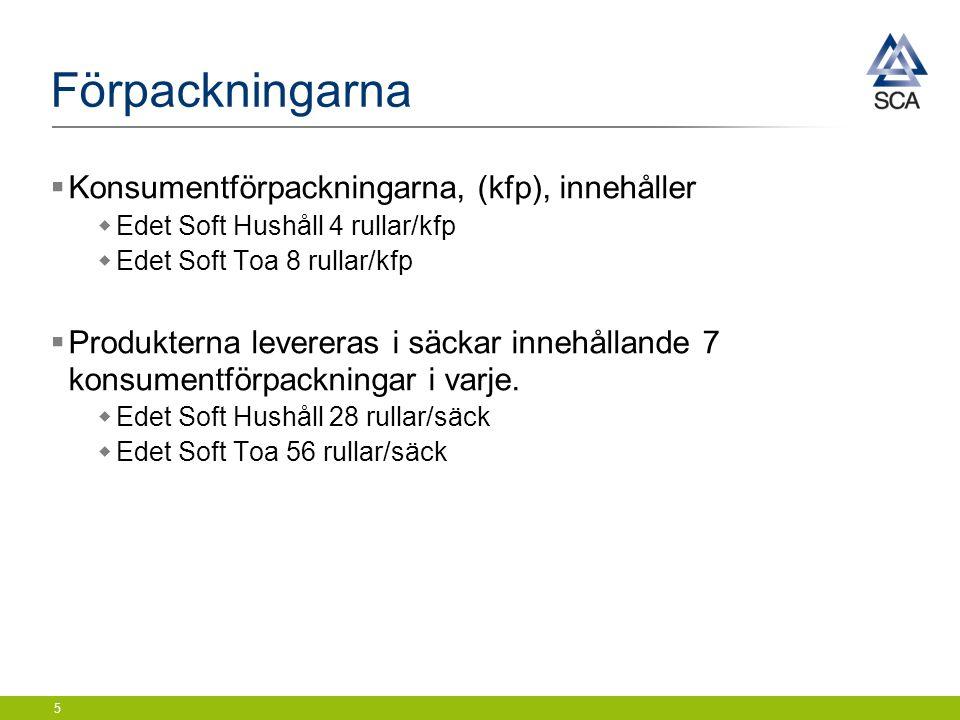 Förpackningarna  Konsumentförpackningarna, (kfp), innehåller  Edet Soft Hushåll 4 rullar/kfp  Edet Soft Toa 8 rullar/kfp  Produkterna levereras i säckar innehållande 7 konsumentförpackningar i varje.