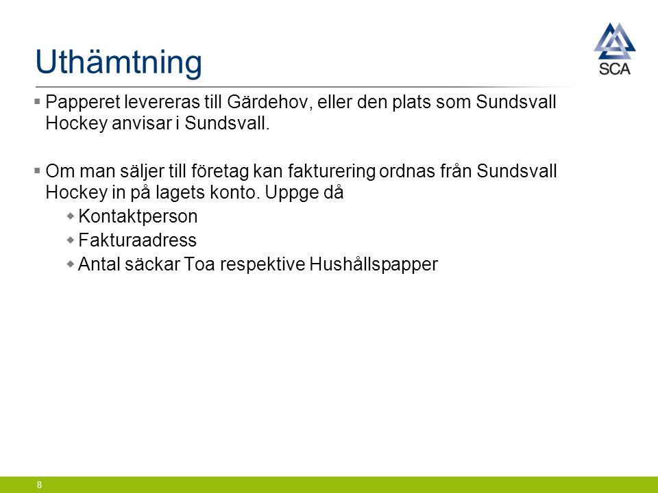 Uthämtning  Papperet levereras till Gärdehov, eller den plats som Sundsvall Hockey anvisar i Sundsvall.