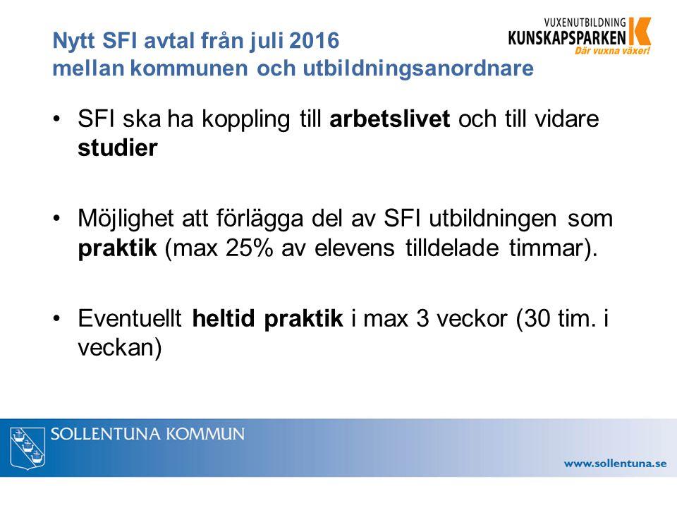 Nytt SFI avtal från juli 2016 mellan kommunen och utbildningsanordnare SFI ska ha koppling till arbetslivet och till vidare studier Möjlighet att förlägga del av SFI utbildningen som praktik (max 25% av elevens tilldelade timmar).