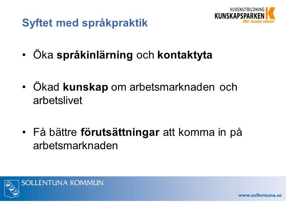 Syftet med språkpraktik Öka språkinlärning och kontaktyta Ökad kunskap om arbetsmarknaden och arbetslivet Få bättre förutsättningar att komma in på arbetsmarknaden