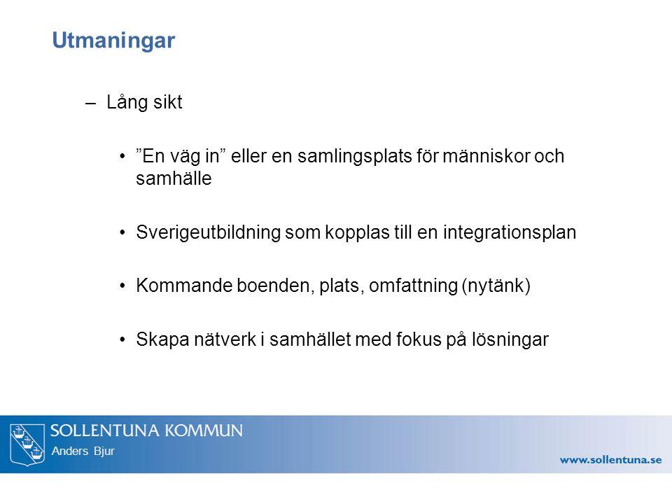 Anders Bjur Utmaningar –Lång sikt En väg in eller en samlingsplats för människor och samhälle Sverigeutbildning som kopplas till en integrationsplan Kommande boenden, plats, omfattning (nytänk) Skapa nätverk i samhället med fokus på lösningar
