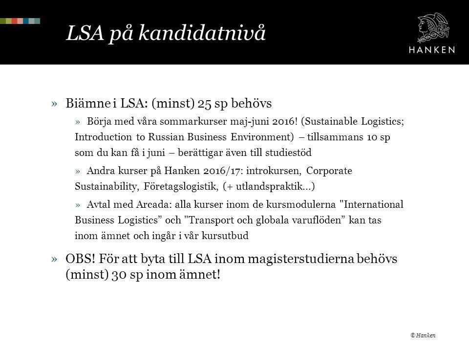 LSA på kandidatnivå »Biämne i LSA: (minst) 25 sp behövs »Börja med våra sommarkurser maj-juni 2016.