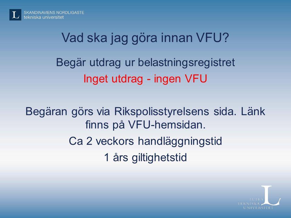 Vad ska jag göra innan VFU.