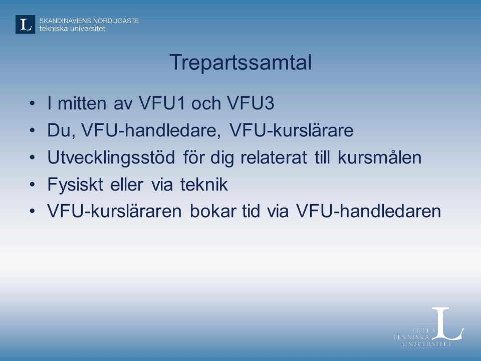 Trepartssamtal I mitten av VFU1 och VFU3 Du, VFU-handledare, VFU-kurslärare Utvecklingsstöd för dig relaterat till kursmålen Fysiskt eller via teknik VFU-kursläraren bokar tid via VFU-handledaren