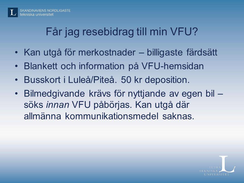 Får jag resebidrag till min VFU.