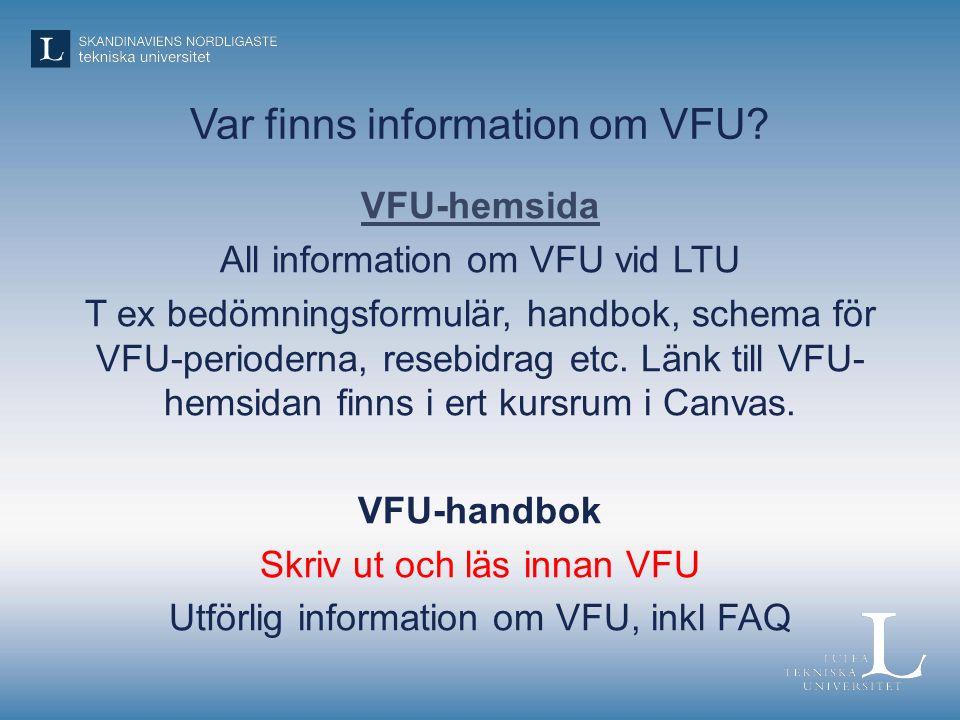Var finns information om VFU.