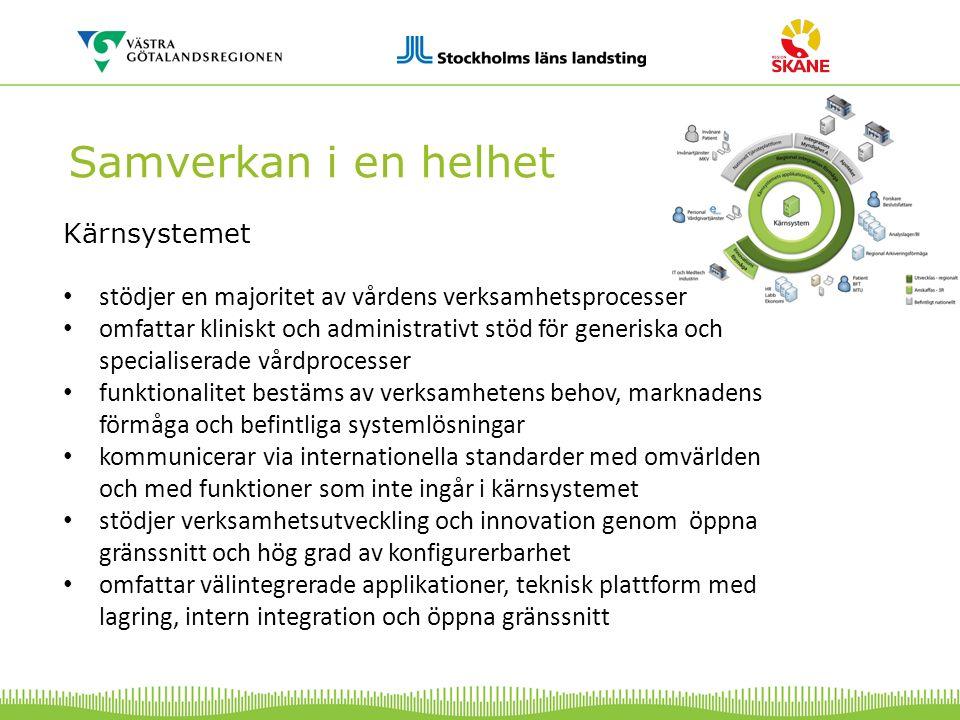 Samverkan i en helhet Kärnsystemet stödjer en majoritet av vårdens verksamhetsprocesser omfattar kliniskt och administrativt stöd för generiska och sp