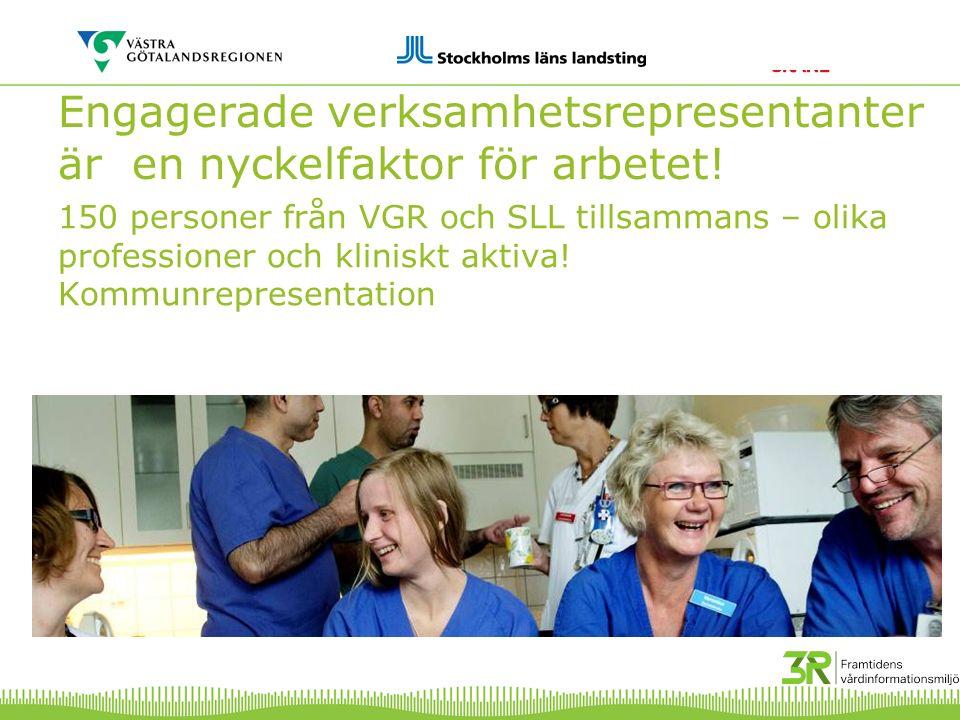 150 personer från VGR och SLL tillsammans – olika professioner och kliniskt aktiva! Kommunrepresentation Engagerade verksamhetsrepresentanter är en ny