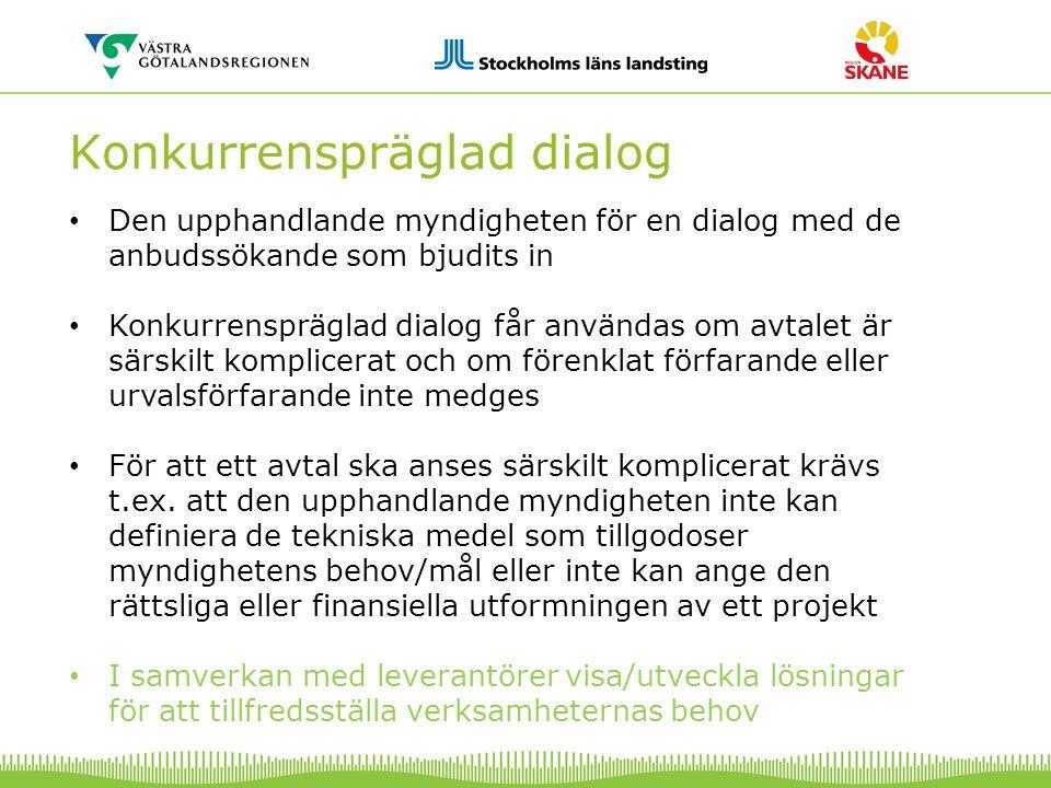 Konkurrenspräglad dialog Den upphandlande myndigheten för en dialog med de anbudssökande som bjudits in Konkurrenspräglad dialog får användas om avtal