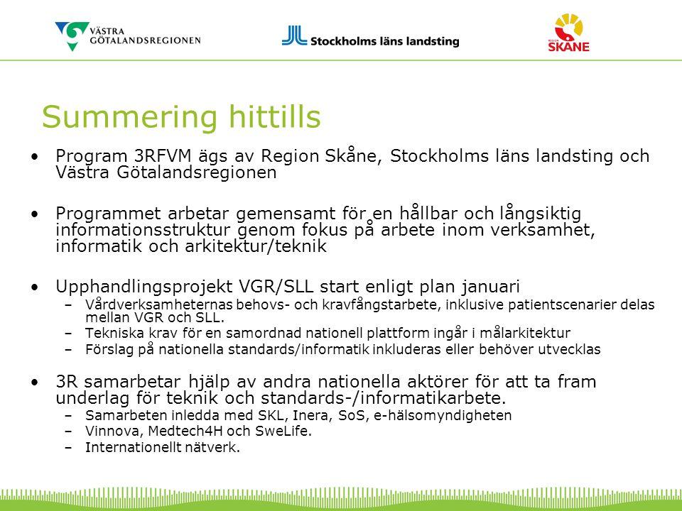 Summering hittills Program 3RFVM ägs av Region Skåne, Stockholms läns landsting och Västra Götalandsregionen Programmet arbetar gemensamt för en hållb