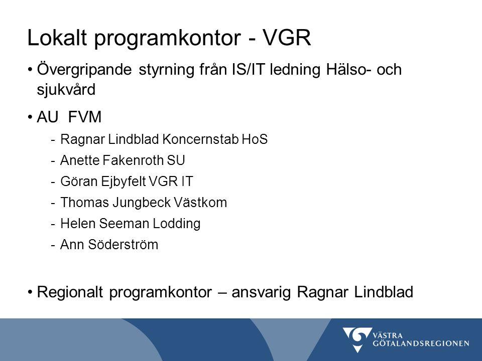 Lokalt programkontor - VGR Övergripande styrning från IS/IT ledning Hälso- och sjukvård AU FVM -Ragnar Lindblad Koncernstab HoS -Anette Fakenroth SU -