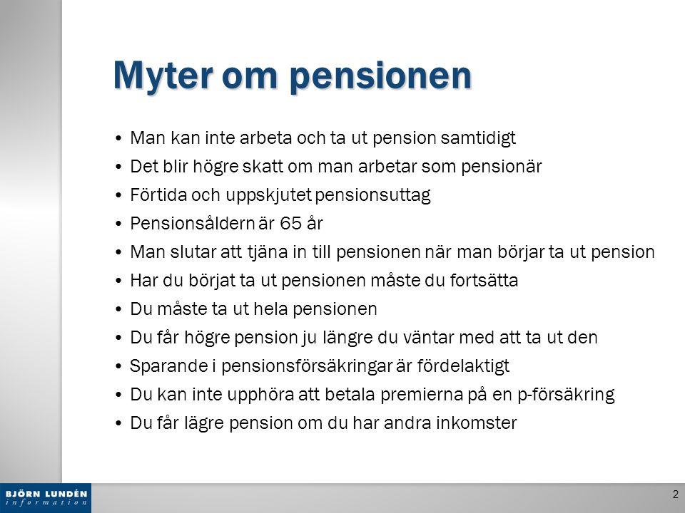 Myter om pensionen Man kan inte arbeta och ta ut pension samtidigt Det blir högre skatt om man arbetar som pensionär Förtida och uppskjutet pensionsut