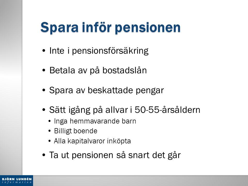 Spara inför pensionen Inte i pensionsförsäkring Betala av på bostadslån Spara av beskattade pengar Sätt igång på allvar i 50-55-årsåldern Inga hemmava