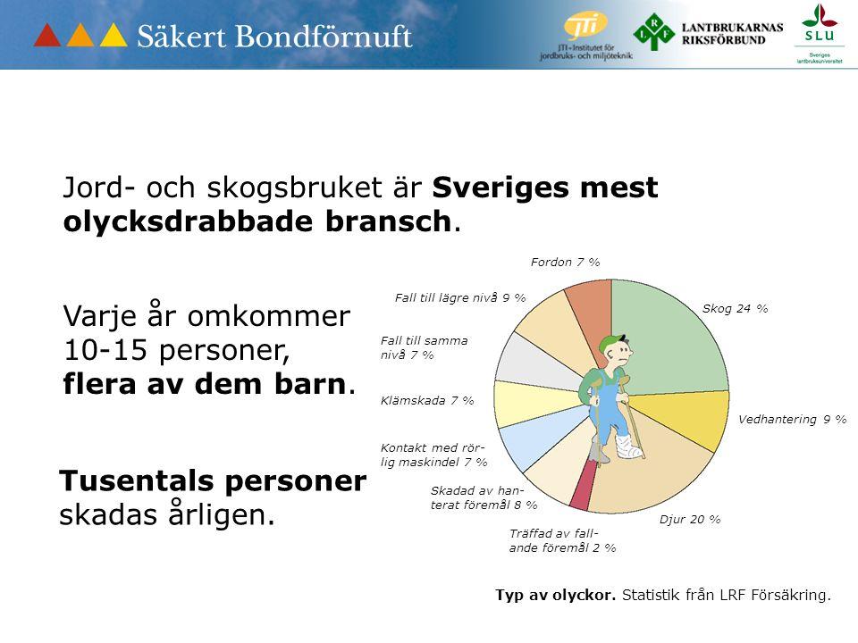 Jord- och skogsbruket är Sveriges mest olycksdrabbade bransch. Varje år omkommer 10-15 personer, flera av dem barn. Skog 24 % Vedhantering 9 % Djur 20