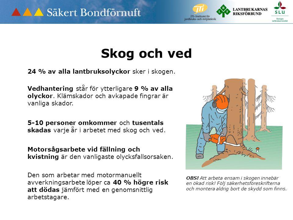 Skog och ved OBS! Att arbeta ensam i skogen innebär en ökad risk! Följ säkerhetsföreskrifterna och montera aldrig bort de skydd som finns. 5-10 person
