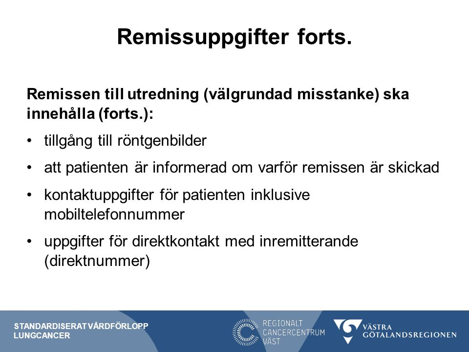 Remissuppgifter forts.