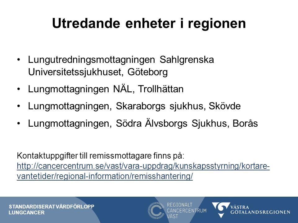 Utredande enheter i regionen Lungutredningsmottagningen Sahlgrenska Universitetssjukhuset, Göteborg Lungmottagningen NÄL, Trollhättan Lungmottagningen, Skaraborgs sjukhus, Skövde Lungmottagningen, Södra Älvsborgs Sjukhus, Borås Kontaktuppgifter till remissmottagare finns på: http://cancercentrum.se/vast/vara-uppdrag/kunskapsstyrning/kortare- vantetider/regional-information/remisshantering/ http://cancercentrum.se/vast/vara-uppdrag/kunskapsstyrning/kortare- vantetider/regional-information/remisshantering/ STANDARDISERAT VÅRDFÖRLOPP LUNGCANCER