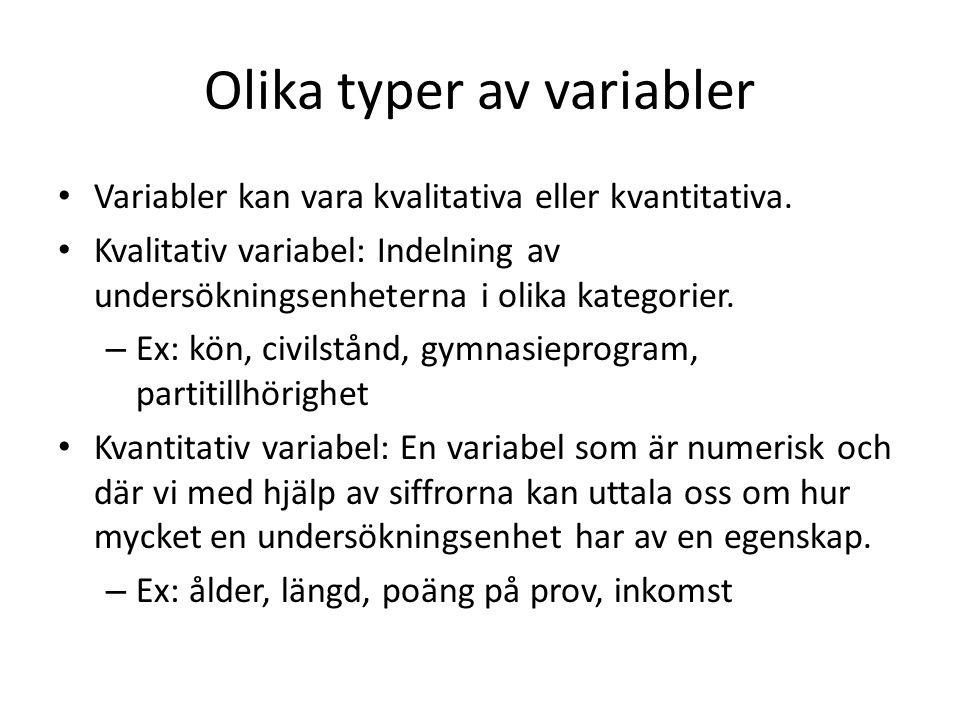 Diskreta och kontinuerliga variabler En kvantitativ variabel är antingen diskret eller kontinuerlig.