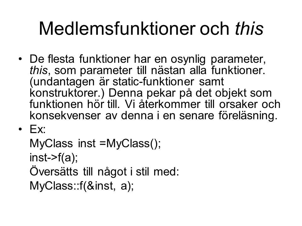 Medlemsfunktioner och this De flesta funktioner har en osynlig parameter, this, som parameter till nästan alla funktioner.
