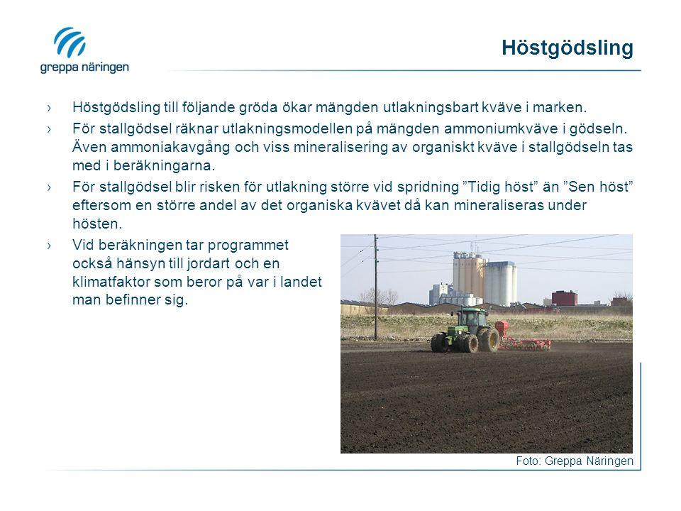 Höstgödsling ›Höstgödsling till följande gröda ökar mängden utlakningsbart kväve i marken.