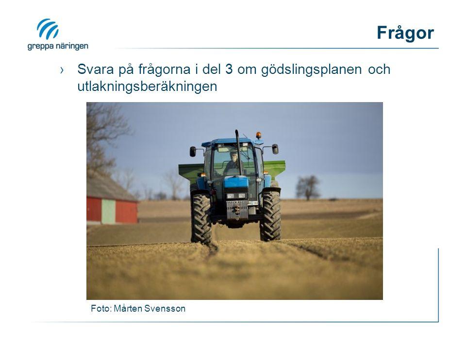 Frågor ›Svara på frågorna i del 3 om gödslingsplanen och utlakningsberäkningen Foto: Mårten Svensson