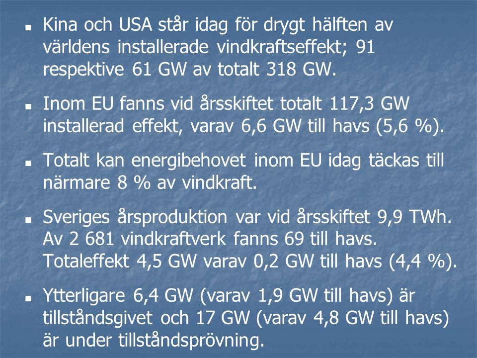 Kina och USA står idag för drygt hälften av världens installerade vindkraftseffekt; 91 respektive 61 GW av totalt 318 GW.