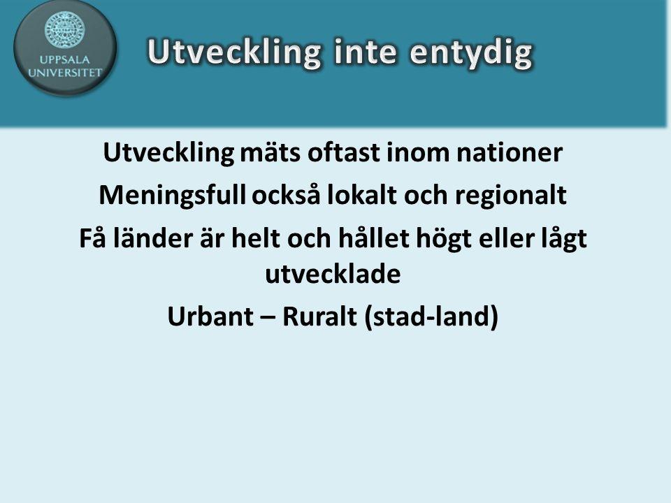 Utveckling mäts oftast inom nationer Meningsfull också lokalt och regionalt Få länder är helt och hållet högt eller lågt utvecklade Urbant – Ruralt (stad-land)
