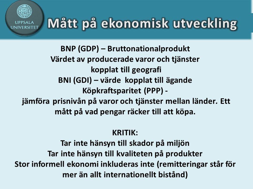 BNP (GDP) – Bruttonationalprodukt Värdet av producerade varor och tjänster kopplat till geografi BNI (GDI) – värde kopplat till ägande Köpkraftsparitet (PPP) - jämföra prisnivån på varor och tjänster mellan länder.