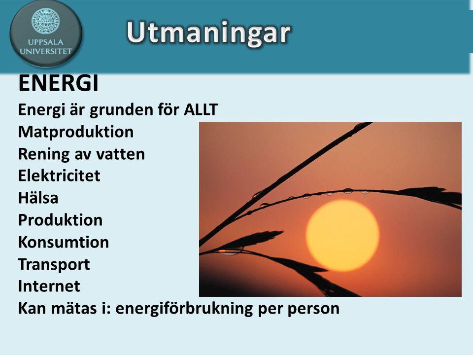ENERGI Energi är grunden för ALLT Matproduktion Rening av vatten Elektricitet Hälsa Produktion Konsumtion Transport Internet Kan mätas i: energiförbrukning per person