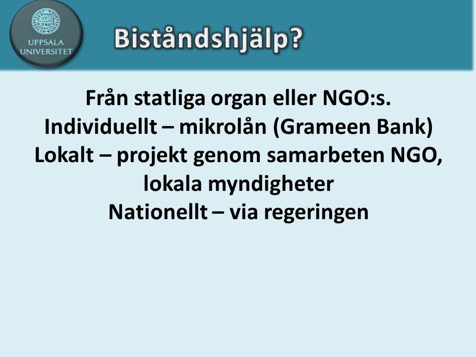 Från statliga organ eller NGO:s. Individuellt – mikrolån (Grameen Bank) Lokalt – projekt genom samarbeten NGO, lokala myndigheter Nationellt – via reg