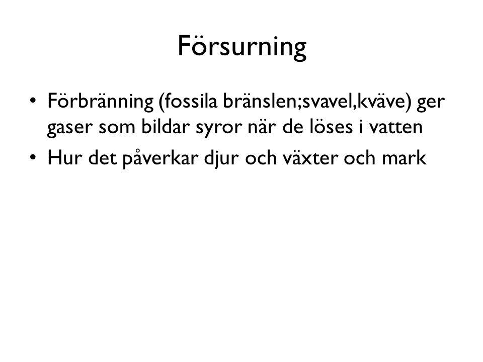 Försurning Förbränning (fossila bränslen;svavel,kväve) ger gaser som bildar syror när de löses i vatten Hur det påverkar djur och växter och mark