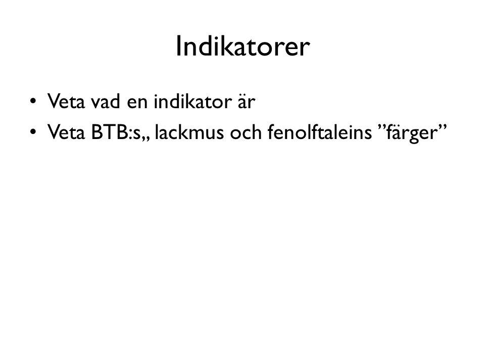 Indikatorer Veta vad en indikator är Veta BTB:s,, lackmus och fenolftaleins färger