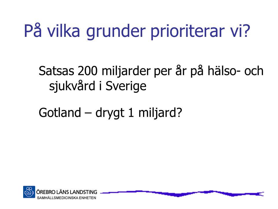 På vilka grunder prioriterar vi? Satsas 200 miljarder per år på hälso- och sjukvård i Sverige Gotland – drygt 1 miljard?