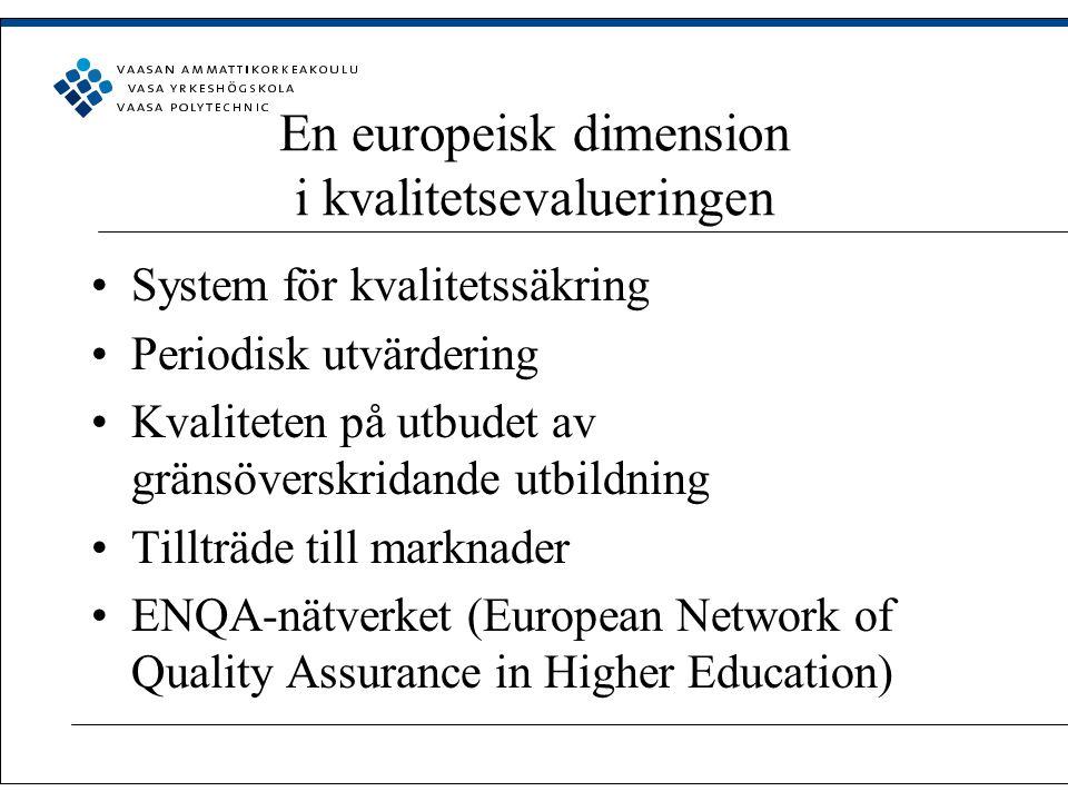 En europeisk dimension i kvalitetsevalueringen System för kvalitetssäkring Periodisk utvärdering Kvaliteten på utbudet av gränsöverskridande utbildning Tillträde till marknader ENQA-nätverket (European Network of Quality Assurance in Higher Education)