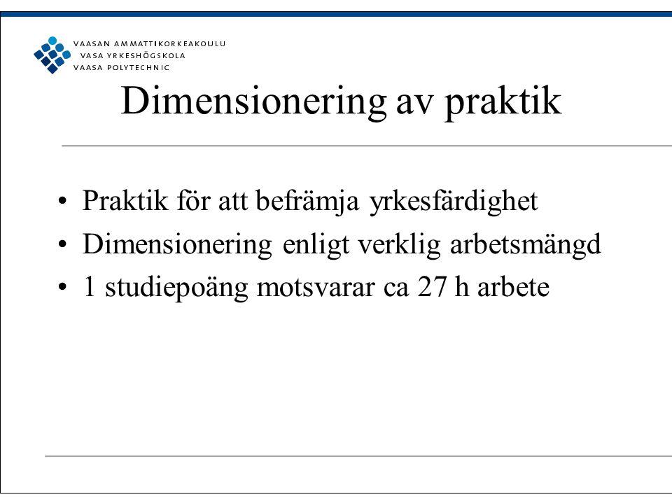Dimensionering av praktik Praktik för att befrämja yrkesfärdighet Dimensionering enligt verklig arbetsmängd 1 studiepoäng motsvarar ca 27 h arbete