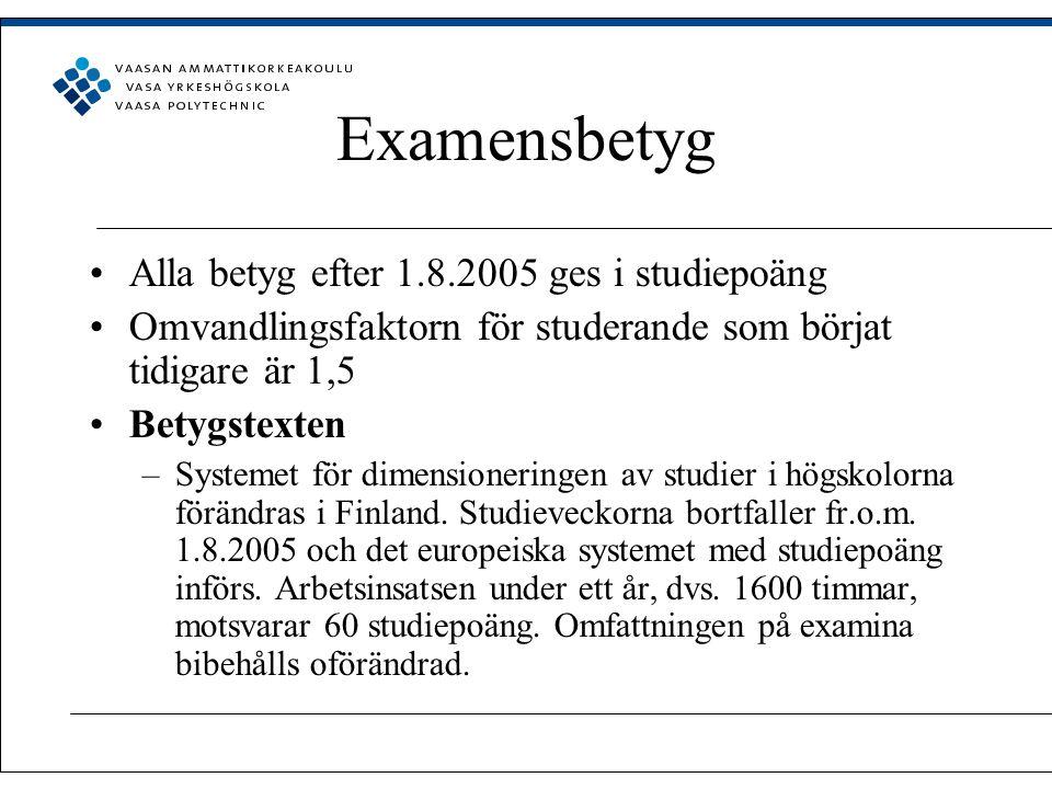 Examensbetyg Alla betyg efter 1.8.2005 ges i studiepoäng Omvandlingsfaktorn för studerande som börjat tidigare är 1,5 Betygstexten –Systemet för dimensioneringen av studier i högskolorna förändras i Finland.